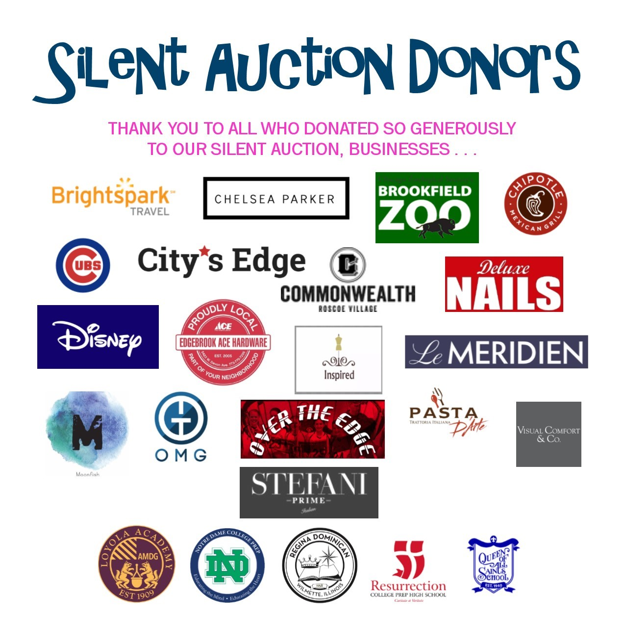 2020 silent auction donors